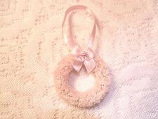 Pink Mini Wreath Tree Ornament Shabby Bottle Brush Easter Miniature Pearl Bow