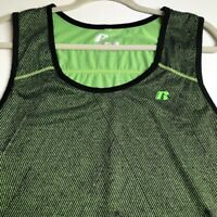 Russell Men's Activewear Tank Top Large L 42 44 Green Black Scoop Sleeveless Gym