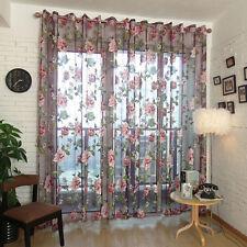 200x100cm Flower Door Window Curtain Drape Panel Scarf Sheer Tulle Voile DIY