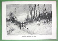 WINTER SOLITUDE Farmers Return from Market - VICTORIAN Antique Print