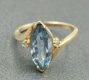 Womens 9ct Yellow Gold Spinel & Cubic Zirconia Ring Engagement Cocktail Vintage