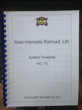 Iowa Interstate Employee Timetable 10 NOV132007 System Special Instructions IAIS