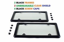2 UNBREAKABLE CLEAR LICENSE PLATE TAG SHIELD COVERS + 2 BLACK FRAMES + 8 CAPS