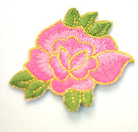 PINK  ROSE FLOWER LILY 7cm Embroidered Sew Iron On Cloth Patch Badge APPLIQUE
