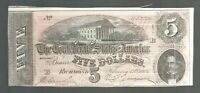 $5 1864 FIVE DOLLARS CSA CONFEDERATE Currency Note Bill Money