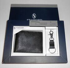 Stafford Essenrials Men's Genuine Leather Passcae Wallet & Key Fob Set Black NIB