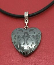 Heart Necklace Leather NEW Hematite Charm Pendant and Cord Mothers Day Love