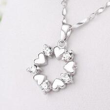 Heart Shaped Love Pendant Necklace Jewelry Flower