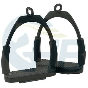 Black Offset Eye Flexible Stirrups Stainless Steel Stirrups Black Stirrups
