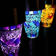 Set of 6 Two Tone Crackle Mosaic Solar Light White LED in Pink Sliver Green