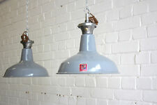 Vintage Industrial Grey Enamel Factory Pendant Lights Circa 1950's 125 Available