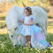Vestido Princesa Unicornio Niños Fiesta De Cumpleaños Con Cola Niña Princesa Vestido de fantasía