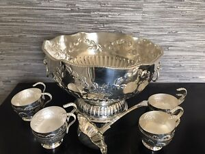 antique silver plated Punch Bowl, Ladle & Cups