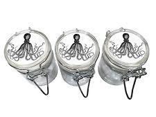 3 Glass Storage Stash Jars Kraken Container Wire Top Air Tight Seal Jar Octopus