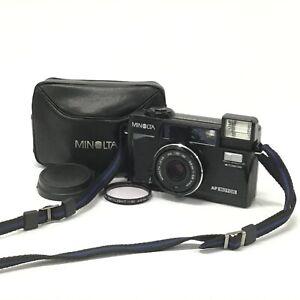Minolta Hi-matic AF2-MD Black Point & Shoot Film Camera w/ Case Filter EXC TK06N