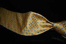 Brooks Brothers Makers Thick Woven Satin Lemon Blue Stamp Diamond Geom Silk Tie