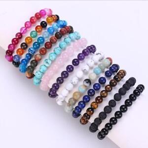 Wholesale Natural Gemstone Round Bead Bracelets Elastic Bangle 4mm 6mm 8mm 10mm