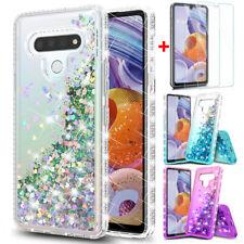 For LG Stylo 6 Phone Case Bling Glitter Liquid Quicksand TPU Case+Tempered Glass