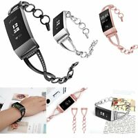 Premium Stainless Jewelry Stone Metal Band Bracelet Bangle For Fitbit Charge 3