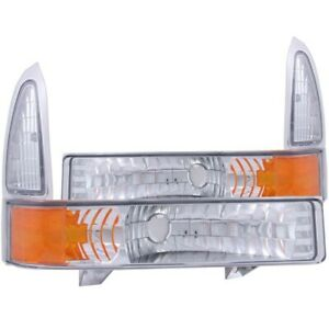 ANZO 2000-2004 Ford Excursion Euro Parking Lights Chrome w/ Amber Reflector
