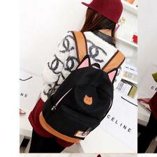 2018 Women Girl Canvas Backpack Cute Cat Ear Rucksack Travel Shoulder School Bag