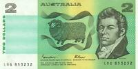 AUSTRALIA $2 BANKNOTE Johnston Fraser LAST PREFIX LQG - aUNC EXCELLENT NO FOLDS