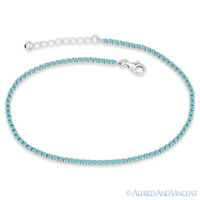 2.3mm Turquoise Nano CZ Crystal .925 Sterling Silver Sliding Lock Tennis Anklet