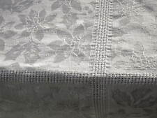 WHITE CHRISTMAS TABLECLOTH HOLLY POINSETTIA JACQUARD and OPEN WORK 82 x 55