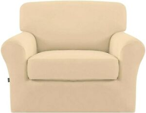 Easy-Going 2 Pieces Microfiber Stretch Couch Slipcover Chair Cover Pale Yellow