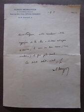 Biglietto Autografo Arturo Donaggio 1933 Psichiatria Lombroso Candidato Nobel