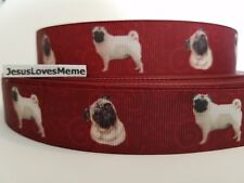 """Grosgrain Ribbon Pug Dog Breed Pugs Dogs Puppy Pets Fur Baby Rescue Shelter 1"""""""