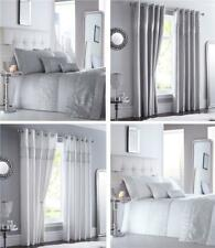 Luxury duvet cover sets white or grey diamante silver sequin bedding & curtains