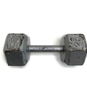 25 lb Dumbbell Cast Iron Hex Head Single 25 Pounds