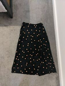 Oliver Bonas Polka Dot Midi Skirt With Split size 6
