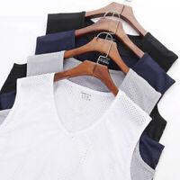 Thin Mesh V-neck Casual Sport Breathable Men Sleeveless Shirt Fitness Tank Top
