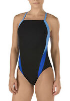 Speedo Women's Swimsuit One Piece Endurance+ Cross Back Solid Black/Blue 30