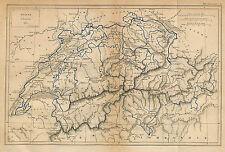 SUISSE SCHWEIZ SWITZERLAND ANCIENNE CARTE LOUIS DUSSIEUX OLD MAP 1868