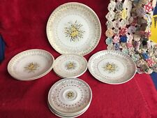 11 Piece Set Yellow Rose China Cunningham & Pickett Plate Bowls Saucers 22K Gold