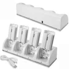 UK 4 X White Rechargeable Battery Pack + Charging Dock for Wii Remote Controller