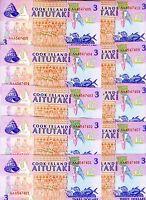 LOT, Cook Islands, 10 x $3, 1992, P-7, UNC