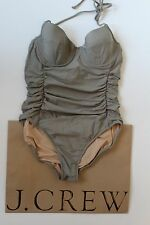 NWT J Crew D Cup Halter Underwire One Piece Tank EARTH C4669 Sz 6 Small $112