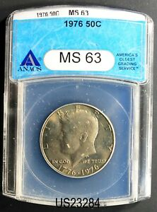 1976 KENNEDY HALF DOLLAR ANACS MS-63
