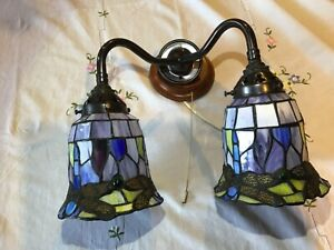 Dragonfly Tiffany Style Wall Lamp Antique Lamps Stained Glass Handcrafted Light