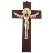 "Wood wall hanging risen christ cross 8"" (20cm) gift metal wooden crucifix"