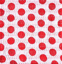 "Indian Polka Dot Design Cotton Kantha Stitch C/Cover - Red -16""/41 cm"