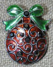 VINTAGE SILVER TONE GREEN RED ENAMEL BLACK CRYSTAL CHRISTMAS ORNAMENT PIN BROOCH