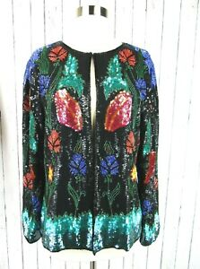 Vintage 80s Beaded Sequin Formal Cocktail Holiday Party Trophy Jacket Med M
