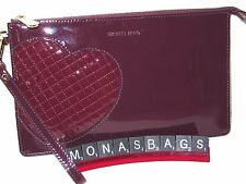 Michael Kors Hearts Daniela Large Clutch Wristlet Plum Patent Leather NWT $128