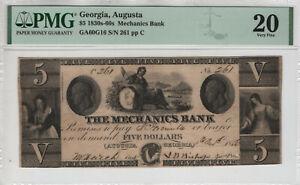 1830's $5 MECHANICS BANK AUGUSTA GEORGIA OBSOLETE NOTE PMG VERY FINE VF 20(059)