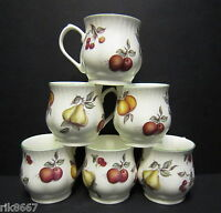 Set of 6 Scatter Fruit Bulbous English Fine Bone China Mugs By Milton China